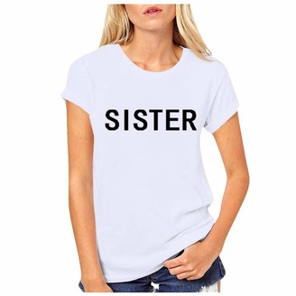LOPILY Women's Sister Letter PrintBasic Tee Best Friend Round Neck Short Sleeve Daily Blouse Casual Loose Cozy T-Shirt Fashion Stylish TeeWhiteS