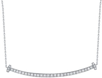 Lab Grown Diamond Smile Necklace, 1/2 Ctw 10K White Gold by Smiling Rocks