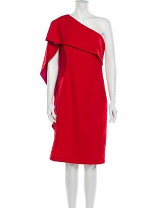 Carmen Marc Valvo One-Shoulder Knee-Length Dress w/ Tags Red