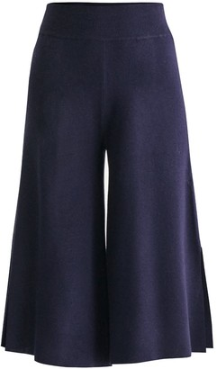 Paisie Knitted Culottes With Contrasting Side Stripe In Navy & White