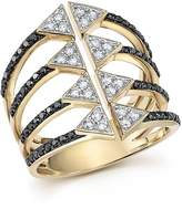Bloomingdale's Black and White Diamond Micro Pave Statement Ring in 14K Yellow Gold - 100% Exclusive