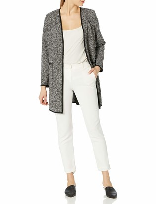 Tahari ASL Women's Knit Open V-Neck Topper Jacket with Patch Pockets