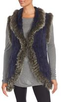Saks Fifth Avenue Rabbit & Fox Fur Sleeveless Vest