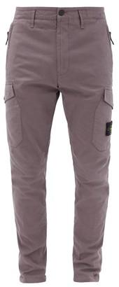 Stone Island Logo-pocket Cotton-blend Cargo Trousers - Purple