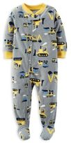 Carter's Zip-Front Construction Truck Fleece Footed Pajama in Grey