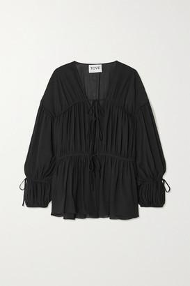 TOVE Deia Gathered Silk-georgette Blouse - Black