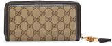 Gucci Beige Monogram Canvas Bamboo Tassel Zip Around Wallet