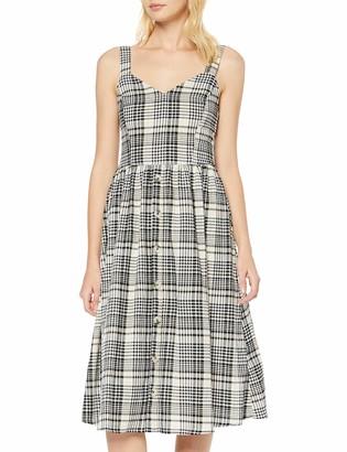 New Look Women's Ec Crinkle Check Button Midi (6206125) Dress