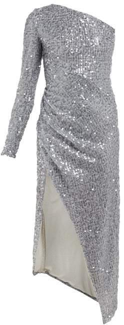 Galvan Mamounia Asymmetric Sequinned Tulle Dress - Womens - Silver