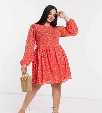 ASOS DESIGN Curve shirred mini smock dress in red ditsy floral print