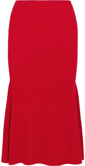 Victoria Beckham Ribbed Wool-blend Midi Skirt - Red
