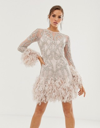 Asos EDITION crystal embellished mini dress with faux feather hem