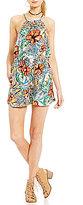 Jessica Simpson Cielo Tropical Printed Macrame Halter Neck Romper