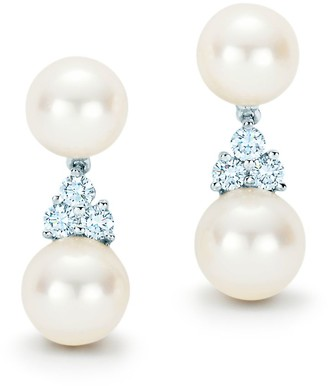 Tiffany & Co. Aria drop earrings of Akoya cultured pearls and diamonds in platinum