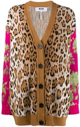 MSGM Leopard Floral Intarsia Cardigan