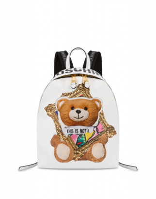Moschino Frame Teddy Bear Backpack Woman White Size U It - (one Size Us)