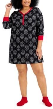 Charter Club Plus Size Sleepshirt & Socks 2pc Set, Created for Macy's