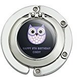 Graphics and More Personalized Custom Happy Birthday Party Cute Purple Owl Kids Purse Hanger Holder Hook with Mirror