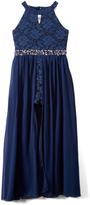 Speechless Navy Lace Embellished-Waist Skirted Romper - Girls