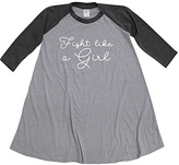 Urban Smalls Heather Gray & Charcoal 'Fight' Raglan Dress - Toddler & Girls