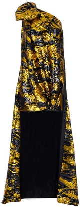 Halpern Sequinned Long Train Panel One Shoulder Dress