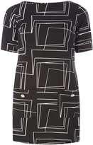 Black Geometric Print Tunic Top