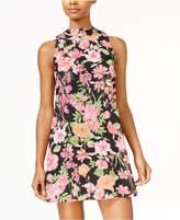 Speechless Juniors' Mock-Neck Floral-Print Dress