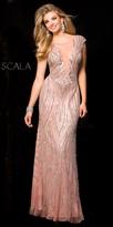 Scala Cap Sleeve Embellished V-Back Prom Dress