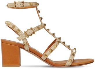 Valentino 60mm Rockstud Woven Textile Sandals