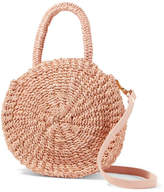 Clare Vivier Alice Petit Leather-trimmed Woven Abaca Straw Shoulder Bag - Blush