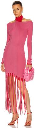 Bottega Veneta Rib Fringe Cold Shoulder Dress in Candyfloss & Fire Engine | FWRD