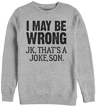 Fifth Sun Men's Pullover Sweaters ATH - Athletic Heather 'I May Be Wrong' Pullover - Men