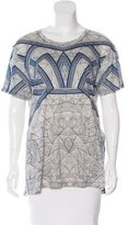 Herve Leger Abstract Print Short Sleeve Top
