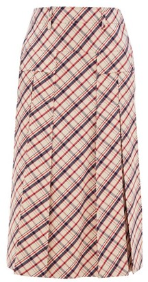 Prada Checked Wool-twill Skirt - Red White