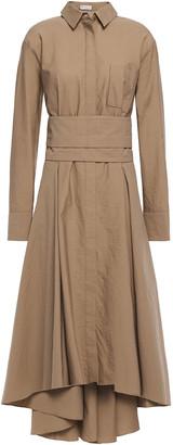 Brunello Cucinelli Asymmetric Bead-embellished Cotton-poplin Shirt Dress