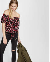 Express Off The Shoulder Tie Front Blouse