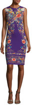 Roberto Cavalli Floral-Print Sleeveless Sheath Dress, Purple