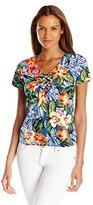 Caribbean Joe Women's Multicolor Printed V-Neck Center-Seam T-Shirt