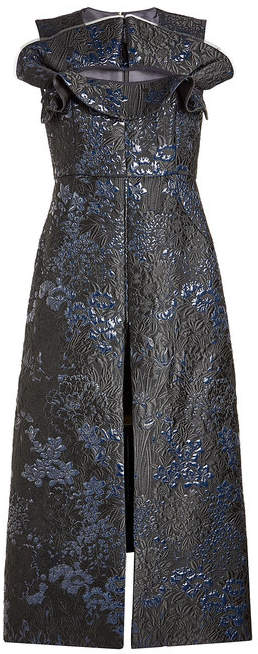 DELPOZO Jacquard Dress with Cut-Out Detail