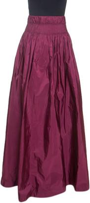 Dries Van Noten Burgundy Taffeta Sinclair Maxi Skirt S