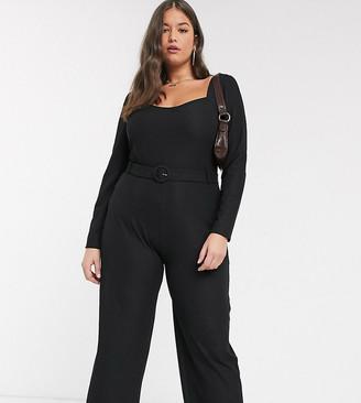 Fashion Union Plus square neck jumpsuit-Black