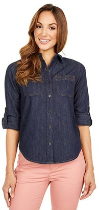 Lauren Ralph Lauren Petite Denim Shirt (Dark Rinse Wash) Women's Clothing