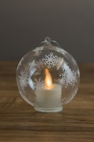 Boston Warehouse Glass Snowflake Ornament with Ivory Moving Flame Candle