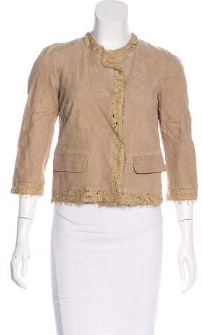 Dolce & Gabbana Suede Lace-Trimmed Jacket