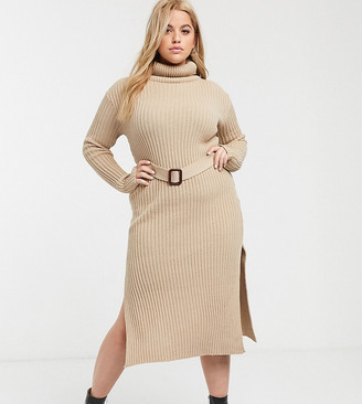 In The Style Plus In The Style x Billie Faiers Plus knitted roll neck midi dress with belt in camel-Brown