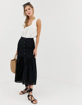 ASOS DESIGN broderie midi skirt with dropped waist