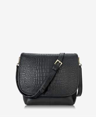 GiGi New York Andie Crossbody In Black Embossed Nappa Croco Leather