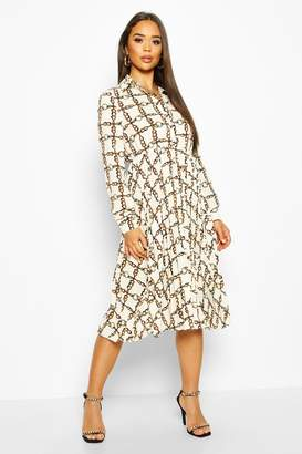 boohoo Chain Print Pleated Midi Dress
