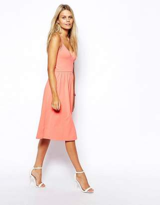 Asos Design Midi Sundress with Strappy Back and Wrap Front-Pink