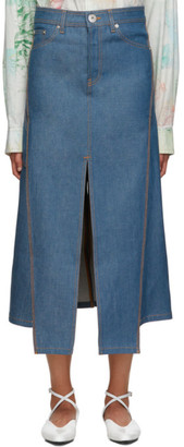 Lanvin Blue Denim Slit Skirt